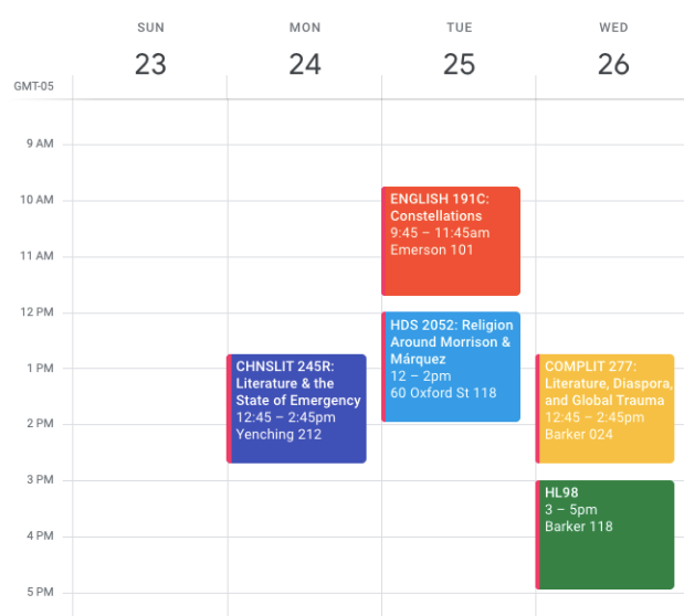 Selina Xu Harvard Class Schedule (Junior Spring)