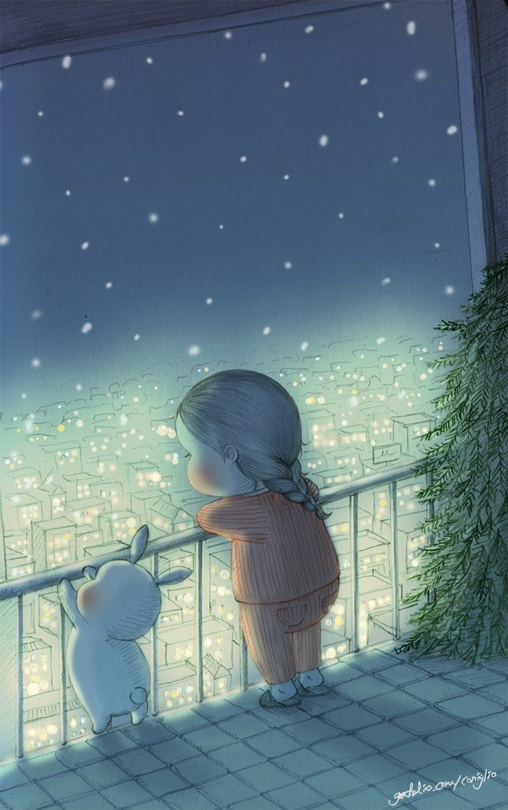 Girl and bunny gazing at the city of lights
